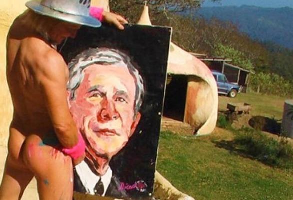 Pricasso también retrató al presidente de EEUU, George W. Bush. Foto mibrujula.com